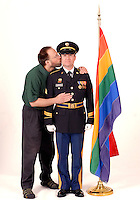 "Sgt. Danny Ingram and his partner of 12 years Harry Rezzemini shot in June 2008.  Ingram was kicked out of the Army after admitting he was gay. ""Speaking up,"" Ingram said, ""was probably the closest I came to actually fulfilling my oath to defend the Constitution in all the six years I served."""