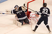 Sam Tucker (Yale - 1), Patrick Harper (BU - 21), Charlie Curti (Yale - 23) The Boston University Terriers defeated the visiting Yale University Bulldogs 5-2 on Tuesday, December 13, 2016, at the Agganis Arena in Boston, Massachusetts.