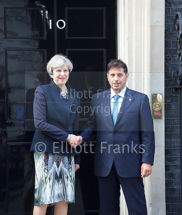 Qatar Prime minister<br /> Abdullah bin Nasser bin Khalifa Al Thani<br /> meets Theresa May, Prime Minister at 10 Downing Street, London, Great Britain <br /> 27th March 2017 <br /> <br /> <br /> <br /> Photograph by Elliott Franks <br /> Image licensed to Elliott Franks Photography Services