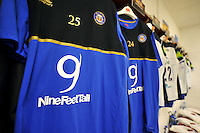 A general view of NineFeetTall branding on Bath Rugby training shirts. European Rugby Champions Cup match, between Leinster Rugby and Bath Rugby on January 16, 2016 at the RDS Arena in Dublin, Republic of Ireland. Photo by: Patrick Khachfe / Onside Images