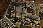 A collection of old photos and music books