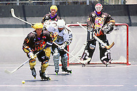 5 June 1999: Roller hockey player skating forward with yellow ball during Pro Beach Hockey PBH game in Huntington Beach.   Southern California summer sport. Transparency slide scan.  Express and Heavy Metal teams. Jeff Prime.