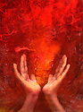 Photo based mixed medium images of hands with red &quot;fire&quot;.