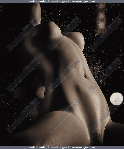 Nude woman slim curvy naked body in seductive pose in front of a wet window at night. Erotic photorealistic 3D illustration. Black and white