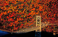 Bear Mountain Bridge across the Hudson, with fall colors, New York