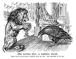"""The Loving Cup: A Parting Toast. British Lion (to American Eagle). """"Here's luck to you. You brought it to me."""""""