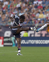 New England Revolution defender Emmanuel Osei (5) follows through on a shot. The Chicago Fire defeated the New England Revolution, 1-0, at Gillette Stadium on June 27, 2010.