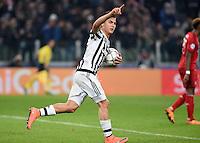 FUSSBALL CHAMPIONS LEAGUE  SAISON 2015/2016 ACHTELFINAL HINSPIEL Juventus Turin - FC Bayern Muenchen             23.02.2016 Jubel Juventus Turin;  Torschuetze zum 2-2 Ausgleich Paulo Dybala