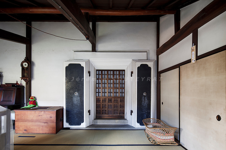 Hino, Shiga prefecture, October 6 2013 - Main bedroom of the 150-year-old traditional house renovated by Mr Austin Moore and his wife, located in a former storehouse (kura).