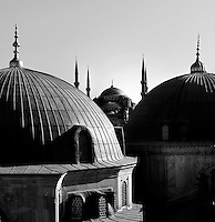 Detail of the tribune of Haghia Sophia, 532-37, by Isidore of Miletus and Anthemius of Tralles, looking towards the Sultan Ahmed Mosque, or Blue Mosque, 1609-16, by Mehmet Aga, Istanbul, Turkey. The historical areas of the city were declared a UNESCO World Heritage Site in 1985. Picture by Manuel Cohen.