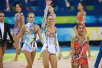 August 22, 2008; Beijing, China; Rhythmic gymnasts march-out after qualifying round at 2008 Beijing Olympics. (L-R) Natalya Godunko (barely in frame), Inna Zhukova, Anna Bessonova, Aliya Garaeva..