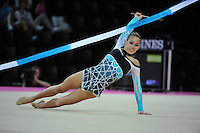 September 22, 2011; Montpellier, France;  SHELBY KISIEL of USA performs with ribbon at 2011 World Championships.
