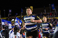 David Wilson of Bath Rugby runs out onto the field on the occasion of his 150th Premiership appearance. Aviva Premiership match, between Bath Rugby and Newcastle Falcons on March 18, 2016 at the Recreation Ground in Bath, England. Photo by: Patrick Khachfe / Onside Images