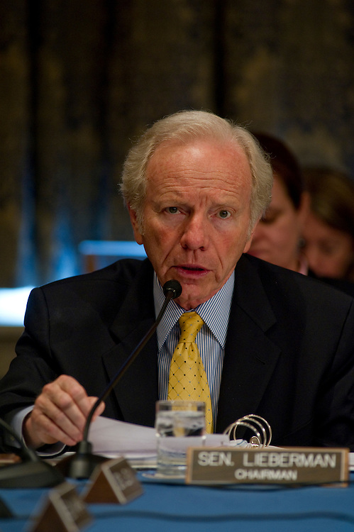 """WASHINGTON, DC - June 24: Chairman Joseph I. Lieberman, I-Conn., during the Senate Homeland Security and Governmental Affairs markup of S 3480, the """"Protecting Cyberspace as a National Asset Act of 2010,"""" and other legislation. (Photo by Scott J. Ferrell/Congressional Quarterly)"""