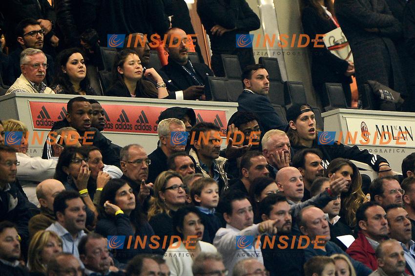 Giocatori Bolton Celtic in tribuna a San Siro, Kelly Olynyk , James Young , <br /> Milano 4-10-2015 Stadio Giuseppe Meazza - Football Calcio Serie A Milan - Napoli. Foto Giuseppe Celeste / Insidefoto