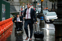 A lawyer for the government of Argentina arrives for the hearing during their ongoing debt issues at the Federal court in lower Manhattan, New York, 12/1/2015 Photo by VIEWpress
