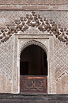 A window with wood carving inside the Medersa Bou Inania (koranic school) in the medina of Fès.