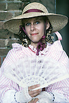 Francis Becker portrays a Southern Belle during the Battle of Fort Morgan, Mobile, Al in 2001. Jim Bryant Photo. @2001. All Rights Reserved.