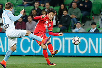 Melbourne, 28 October 2016 - DANNY CHOI (45) of Adelaide kicks the ball in the round 4 match of the A-League between Melbourne City and Adelaide United at AAMI Park, Melbourne, Australia. Melbourne won 2-1 (Photo Sydney Low / sydlow.com)
