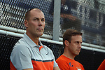 11 September 2015: Virginia head coach George Gelnovatch (left) with assistant coach Matt Chulis. The Duke University Blue Devils hosted the University of Virginia Cavaliers at Koskinen Stadium in Durham, NC in a 2015 NCAA Division I Men's Soccer match. The game ended in a 2-2 tie after overtime.