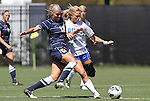09 September 2012: Marquete's Rachel Brown (17) and Duke's Kaitlyn Kerr (5). The Duke University Blue Devils defeated the Marquette University Golden Eagles 5-2 at Koskinen Stadium in Durham, North Carolina in a 2012 NCAA Division I Women's Soccer game.