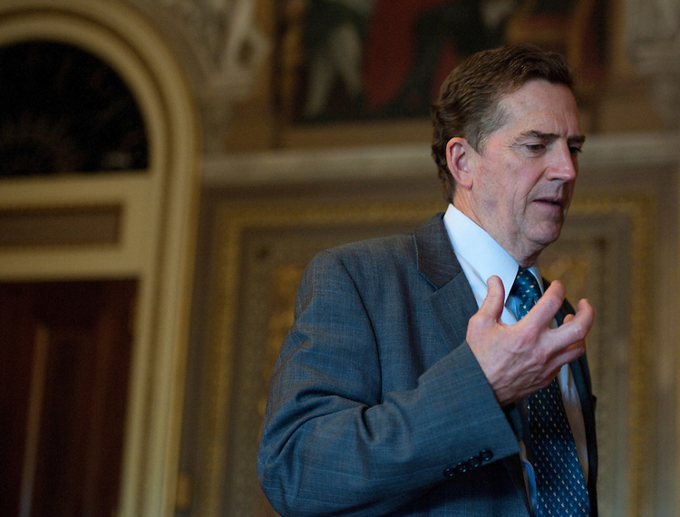 UNITED STATES - OCTOBER 4: Sen. Jim DeMint, R-S.C., speaks to a reporter in the Senate Reception Room following the Senate Republicans' policy lunch on Tuesday, Oct. 4, 2011. (Photo By Bill Clark/CQ Roll Call)