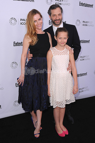 BEVERLY HILLS, CA - MARCH 10:   Leslie Mann, Judd Apatow and daughter Iris Apatow arrive at the 2014 PaleyFest Icon Award to Judd Apatow at the Paley Center for the Media on March 10, 2014 in Beverly Hills, California. MPI213/MediaPunch