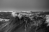 Large stormy waves in Cook Strait, New Zealand.