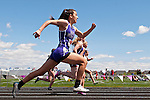 Rocky Mountain freshman Allie Clegg during the 2nd heat of the timed finals for the YMCA Track and Field Invite 100m hurdles event on April 28, 2012 at Rocky Mountain High School, Meridian, Idaho. Clegg's placed eighth with a time of 16.75