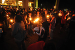 "A crowd participates in a candlelight vigil titled ""We Are One Mississippi"" at the University of Mississippi in Oxford, Miss. on Wednesday, November 7, 2012.The vigil was in response to protests that happened on campus after President Barack Obama was re-elected."