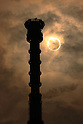 May 21, 2012, Tokyo, Japan - An annular solar eclipse is seen behind Tokyo Sky Tree in Tokyo on May 21, 2012. Tokyo Sky Tree is at 634m is the world's tallest free-standing broadcast tower and the world's 2nd tallest building. It opened to the public on Tuesday 22nd May. (Photo by Shigeki Kawakita/AFLO) [2801] -ty-