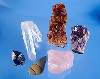 QUARTZ COLOR VARIETIES SiO2. Silicate (clockwise from top) Citrine, Amethyst, Rose Quartz, Picture Jasper, Smokey Quartz, Rock Crystal. Colors due in part to presence of transition elements like Mn -Fe -Ni.
