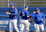 Burlington, CT- 15 May 2017-051517CM09-  Lewis Mills'  Jesse Darcy, left, applauds his players during their Berkshire League matchup against Nonnewaug on Monday.    Christopher Massa Republican-American