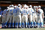 19 February 2017: UNC's players huddle before the game. The University of North Carolina Tar Heels hosted the University of Kentucky Wildcats in a College baseball game at Boshamer Stadium in Chapel Hill, North Carolina. UNC won the game 5-4.