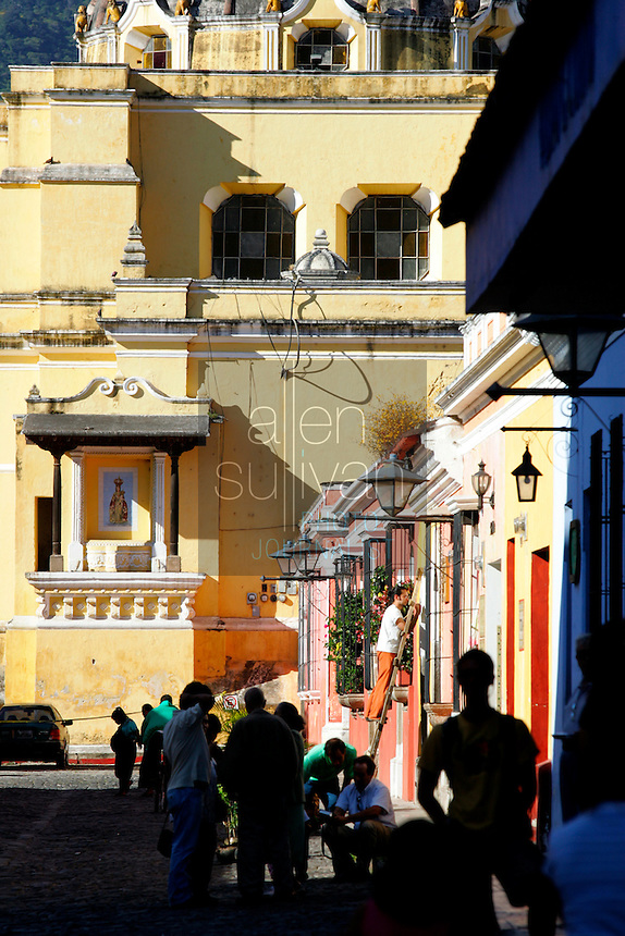 A popular shopping area on 5a Avenida Norte. Until 1776, Antigua was Guatemala's third capital city, but was nearly destroyed by earthquakes. Today, it is Guatemala's foremost tourist center and a UNESCO World Heritage site.<br />