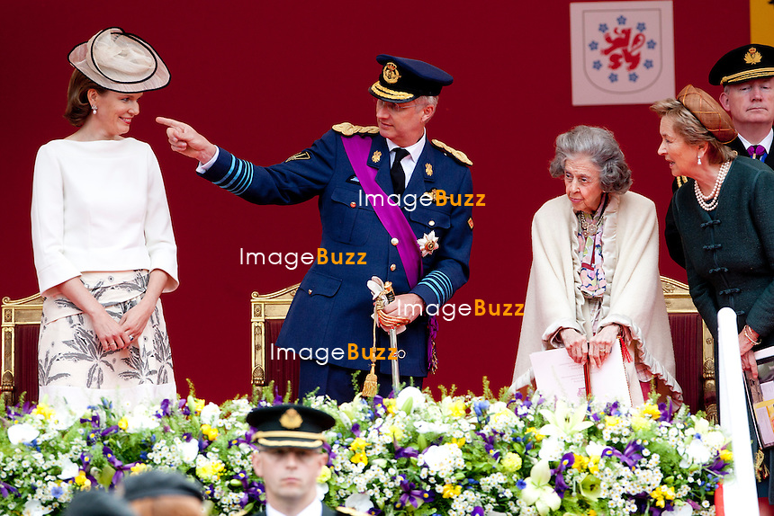 Crown Princess Mathilde and her husband Crown Prince Philippe, Queen Fabiola and Queen Paola pictured during a military parade on the occasion of today's Belgian National Day, Saturday 21 July 2012 in Brussels.