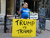 Bob Kunst, 74 of Miami Beach, Florida, an international pioneer of Gay Rights and President of Shalom International, campaigns wears a mask to mock former United States Secretary of State Hillary Clinton near the Quicken Loans Arena, site of the 2016 Republican National Convention in Cleveland, Ohio on Saturday, July 16, 2016.  Kunst is a former supporter of Hillary Clinton and from 2003 to 2008 was president of hillarynow.com, an effort to draft Secretary Clinton to run for President of the United States.<br /> Credit: Ron Sachs / CNP<br /> (RESTRICTION: NO New York or New Jersey Newspapers or newspapers within a 75 mile radius of New York City)