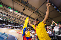 Picture by Alex Whitehead/SWpix.com - 05/03/2016 - Cycling - 2016 UCI Track Cycling World Championships, Day 4 - Lee Valley VeloPark, London, England - Columbian mechanic Libardo Graciano celebrates Fernando Gaviria's Gold medal in the Men's Omnium.