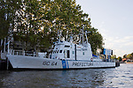 Buenos Aires - A Naval Police boat is docked in the Tigre Section of the city