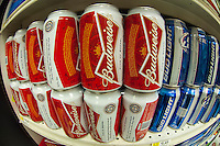 Six-packs of Budweiser and Bud Lite beer by the brewer Anheuser-Busch in a supermarket in New York on Tuesday, September 18, 2012.  (© Richard B. Levine)