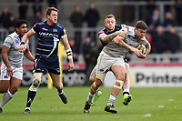 Matt Banahan of Bath Rugby takes on the Sale Sharks defence. Aviva Premiership match, between Sale Sharks and Bath Rugby on May 6, 2017 at the AJ Bell Stadium in Manchester, England. Photo by: Patrick Khachfe / Onside Images