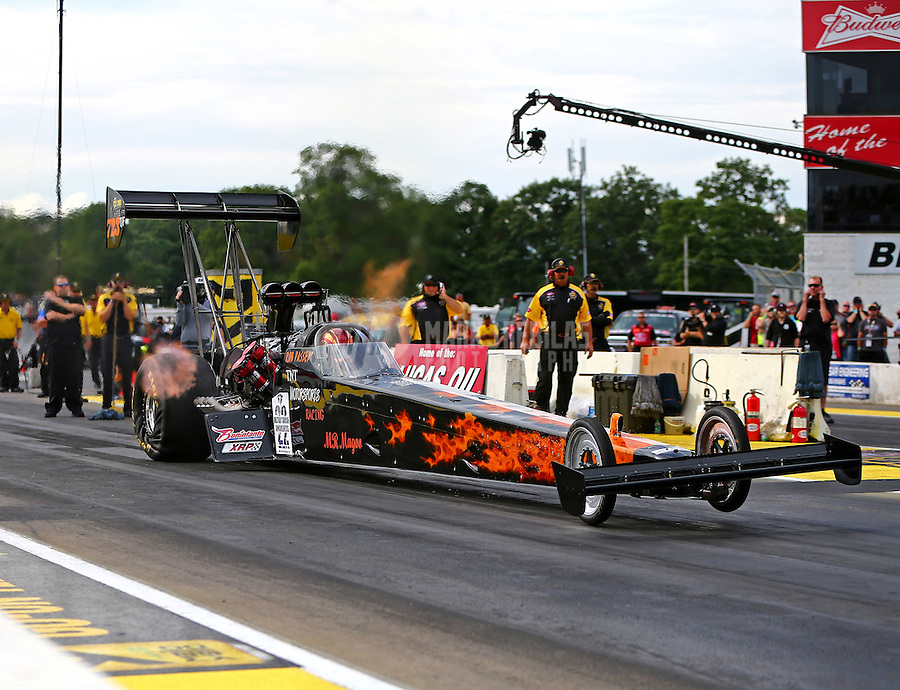 Aug 19, 2016; Brainerd, MN, USA; NHRA top fuel driver Rob Passey during qualifying for the Lucas Oil Nationals at Brainerd International Raceway. Mandatory Credit: Mark J. Rebilas-USA TODAY Sports