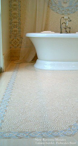 """Tatiana 3 1/2"""" and 10""""mosaic borders and 36"""" custom medallion with Fishscale field in Celeste, Ivory Cream, Travertine White, and ivory Cream"""