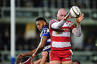 Joe Latta of Gloucester Rugby wins the ball at a lineout. Anglo-Welsh Cup match, between Bath Rugby and Gloucester Rugby on January 27, 2017 at the Recreation Ground in Bath, England. Photo by: Patrick Khachfe / Onside Images