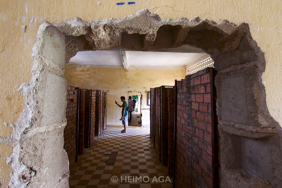 Phnom Penh, Cambodia. Tuol Sleng Genocide Museum at the former Security Prison 21 (S-21) of the Khmer Rouge. Many class rooms of the former school buildings have been divided into single cells.