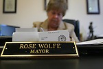 Jackson, Kentucky Mayor Rose Wolfe completes paperwork in her City Hall office. Mayor Wolfe is the town's first female mayor. Photo by Melanie Hobgood