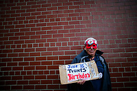 NEW YORK, NY - May 04: An activist takes part in a protest near the USS Intrepid where U.S. president Trump is hosting the visit of Australian Prime Minister Malcolm Turnbull late today after a delay on his schedule on May 4, 2017 in New York City. US President Donald Trump is returning to NYC after taking office in Washington as president,  Photo by VIEWpress/Eduardo MunozAlvarez