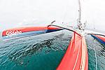 Onbord the Trimaran Sodebo  with the skipper Thomas coville  in Preparation for La Route du Rhum La Banque Postale  2010.