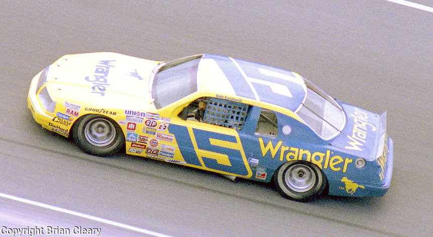 Dale Earnhardt 15 Ford Thunderbird action Firecracker 400 at Daytona International Speedway in Daytona Beach, FL on July 4, 1983. (Photo by Brian Cleary/www.bcpix.com)