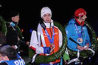 SCHAATSEN: AMSTERDAM: Olympisch Stadion, 28-02-2014, KPN NK Sprint/Allround, Coolste Baan van Nederland, Huldiging Olympische medaillewinnaars, Sjinkie Knegt, ©foto Martin de Jong
